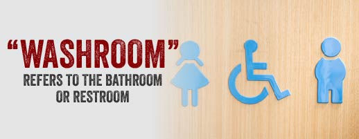 Washroom is another word for bathroom or restroom.
