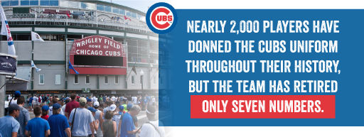 Nearly 2,000 players have donned the Cubs uniform throughout their history but the team has retired only seven numbers.
