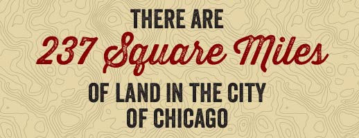 There are 237 square miles of land in the city of Chicago