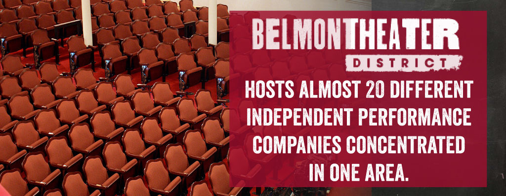 The Belmont Theater District Hosts Almost 20 Different Independent Performance Companies Concentrated in one area.