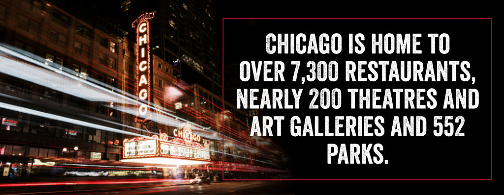 Chicago is home to over 7,300 restaurants, nearly 200 theaters and art galleries and 552 parks.