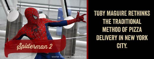 Toby Maguire rethinks the traditional method of pizza delivery in New York City.