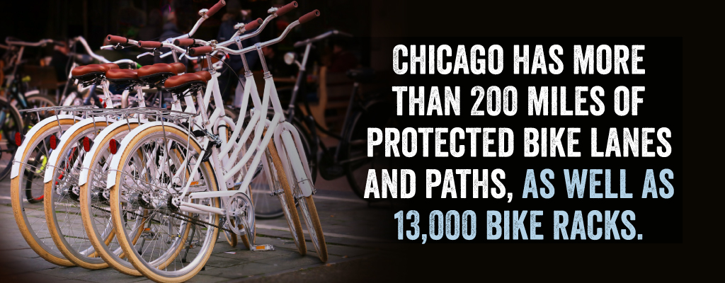 Chicago has more than 200 miles of protected bike lanes and paths.