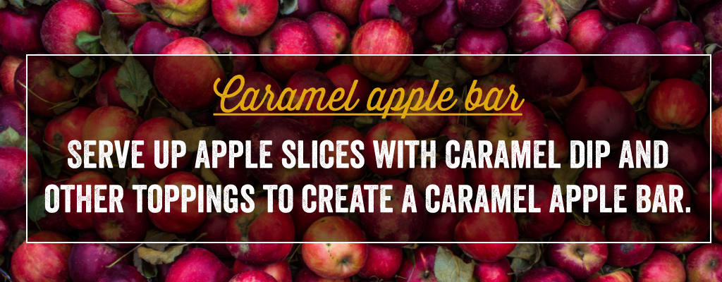 Serve up apple slices with caramel dip and other toppings to create a caramel apple bar