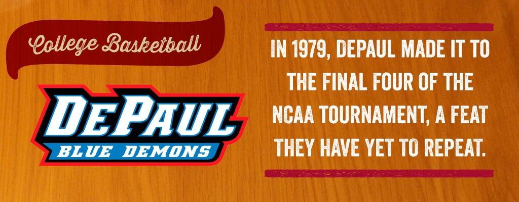 In 1979, Depaul made it to the Final Four of the NCAA Tournament, a feat they have yet to repeat.