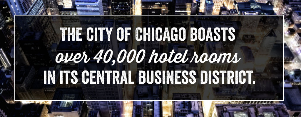 The city of Chicago boasts over 40,000 hotel rooms in its central business district.