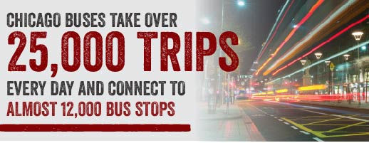 Chicago buses take over 25,000 trips every day  and connect to almost 12,000 bus stops.